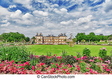Luxembourg Palace and park in Paris, the Jardin du...