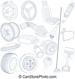 blue pen of car parts - hand drawn with blue pen of car...