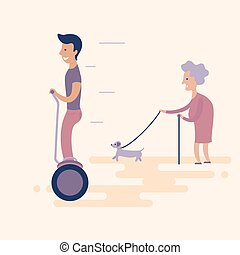 Man on gyroscooter