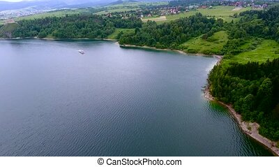 aerial view of beautiful lake - aerial view beautiful blue...