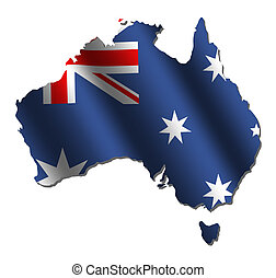 Australian map flag - Australian map with rippled flag on...