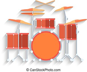 Drum kit icon. Flat design. Vector - Drum kit icon. Flat...