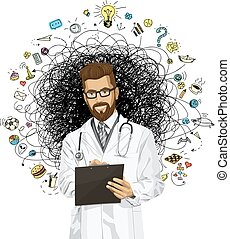 Vector Hipster Doctor Man With Clipboard - Vector hipster...