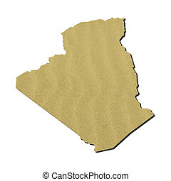 Algeria map with sand