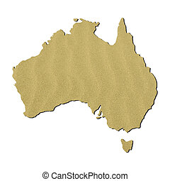 Australia map with sand