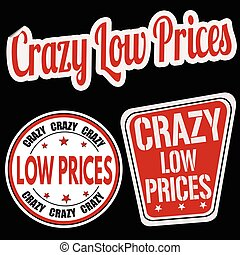 Crazy low prices sticker set on black background, vector...