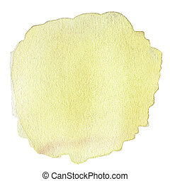 Yellow Abstract watercolor isolated on white background....