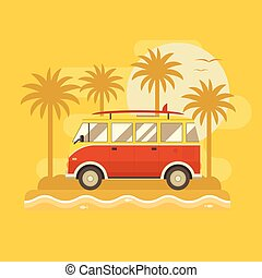 Surfing Bus Poster - Surfing bus on palm beach poster....