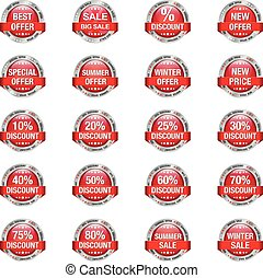 Red Silver Sale Discount Buttons