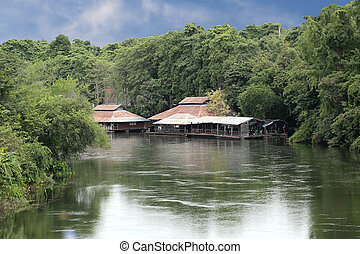 Floating house on the river Kwai Noi in Kanchanaburi. -...