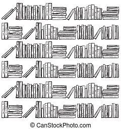 Bücherregal gezeichnet  Vektoren von gezeichnet, bücherregale, vektor, buecher, hand ...