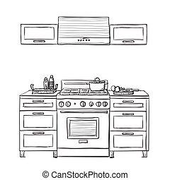 Kitchen cupboard, shelves. - Kitchen cupboard, kitchen...