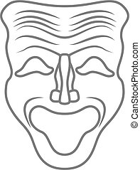 Theatrical masks isolated on white. Vector - Theatrical...