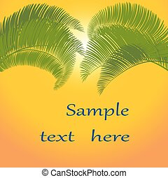 Leaves of palm tree on orange background. illustration