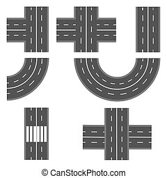 Set of different road, highway sections. illustration
