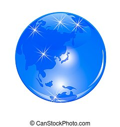 Blue planet earth. View from Japan, China and the Far East. . Stylized glossy ball. illustration