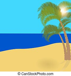 Two lonely palm trees on an exotic island, a wonderful holiday in the shade of palm trees. illustration