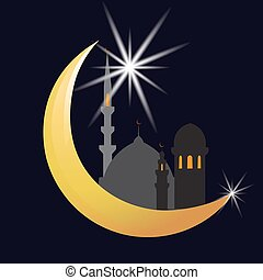 The crescent moon and star. Oriental City. Celebration. illustration