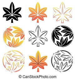 The stylized set maple leaves, Japanese symbolism. illustration.