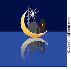 Crescent with a star and its reflection. Oriental City and its reflection. Mosques. illustration