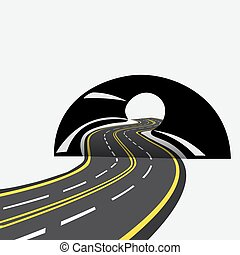 The road in the future passes through the tunnel,...