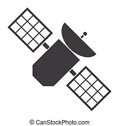 Satellite, silhouette, vector illustration, isolated on...