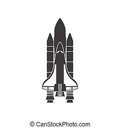 Space Shuttle, silhouette, vector illustration, isolated on...
