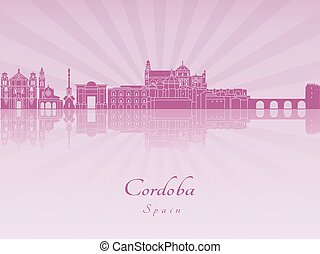 Cordoba skyline in purple radiant orchid in editable vector...