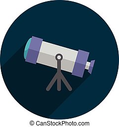 Telescope, Flat design, vector illustration, long shadow