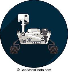 Mars Rover, Flat design, vector illustration, long shadow
