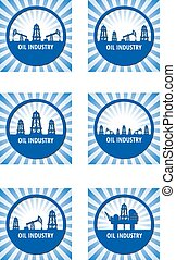 oil industry - Set of circle emblem of oil industry on a...