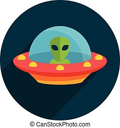UFO, Unidentified flying object, Flat design, vector...