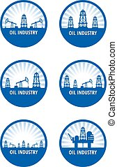 oil industry - Set of circle emblem of oil industry with...