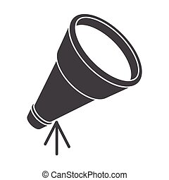 Telescope, silhouette, vector illustration, isolated on...