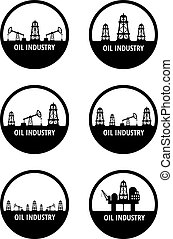 oil industry - Set of black circle emblem of oil industry....