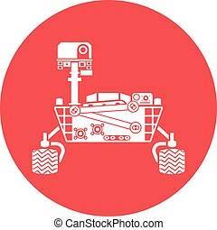 Mars Rover, silhouette, vector illustration, isolated on...