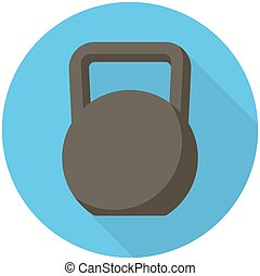 Kettlebell icon - Kettlebell, modern flat icon with long...