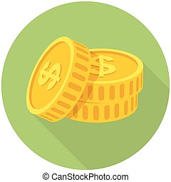 Coins icon  (flat design with long shadows)