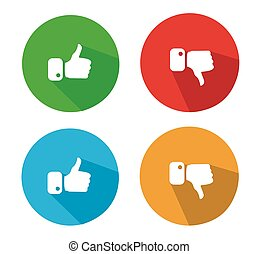 Thumbs Up and Thumbs Down Icons - Modern Thumbs Up and...