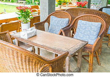 Tables and Chair in outdoor cafe restaurant - Tables and...