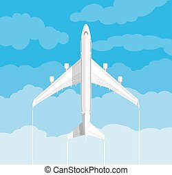 picture of a civilian plane with clouds - picture of a white...