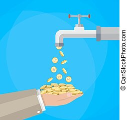 Money coins flows to hand from tap. vector illustration in...