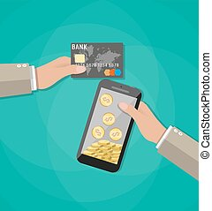 mobile phone with gold coins inside and bank card