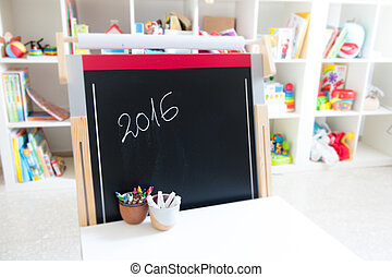Year 2016 school chalk board in classroom