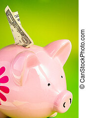 Pink piggy bank with a dollar bill,  on green
