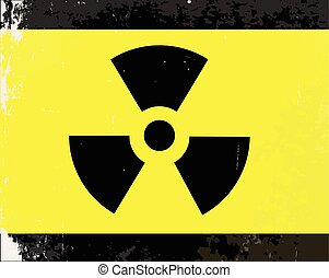 Worn Radioactive Warning Symbol - A worn Caution Radiation...