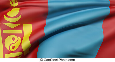 Mongolia flag waving - 3d rendering of a Mongolia flag...