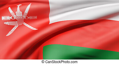 Sultanate of Oman flag - 3d rendering of a Sultanate of Oman...