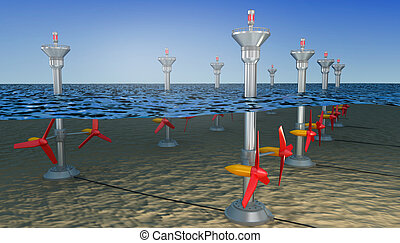 Tidal energy illustration ,  3D illustration