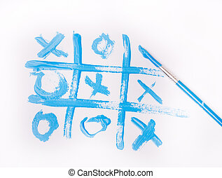 Tic tac toe game drawn with blue paint brush on white paper
